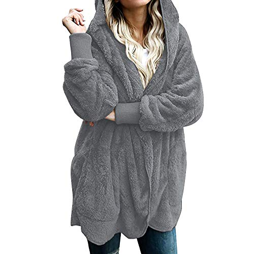 LOPILY Damen Fleecejacke Sweatshirt Lässige Tasche Parka Outwear Cardigan Strick Oversized Warm Winterjacke mit Kapuze KunstfellWintermantel(Gray,L)