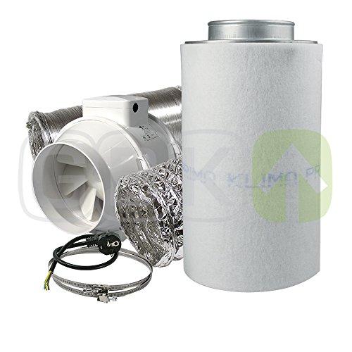 Aktivkohlefilter Lüftungsset inkl. Rohrventilator 220/280 m³/h AKF Belüftungsset für Growbox/Homebox