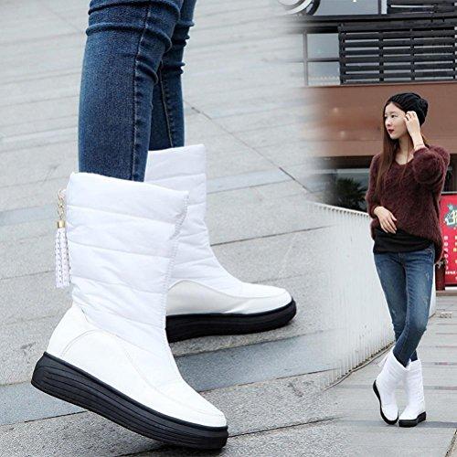 Tefamore Bottes de neige chaude hiver Chaussures de coton Bottes de genou Bottes de femmes Blanc