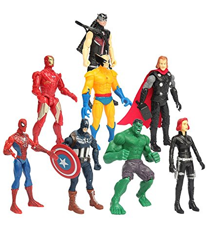 Vibgyor Vibes™ 8 in 1 Super Hero Twist and Move Action Figure -Captain America, Hawk Eye, Wolverine, Iron Man, Thor, Spiderman, Hulk, Black Widow/Quick Silver. Pack of 8