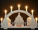 Schwibbogen 7 Kerzen Dresdener Frauenkirche & Kurrende Handarbeit Erzgebirge erzgebirgischer