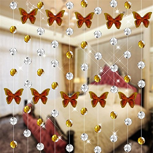 tall Glas Perle Vorhang Luxus Wohnzimmer Schlafzimmer Fenster Tür Trennwand Vorhang Hochzeit Dekor (Braun) (Baby-dusche Themen Elefanten)