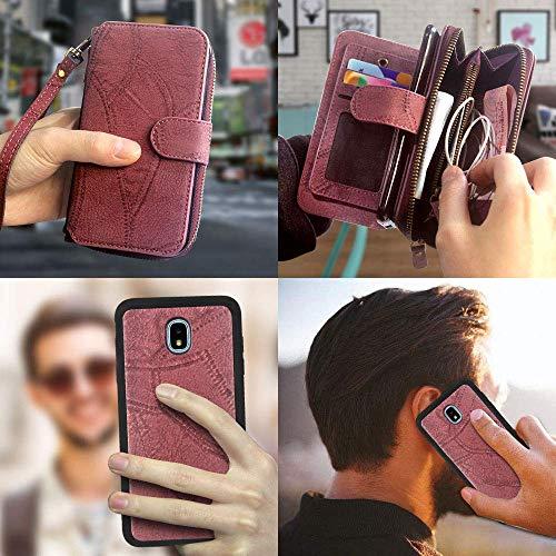 NANIH Home Zipper Wallet Case Purse Slots pour Carte Miroir pour Samsung Galaxy J3 2018 / J3 Orbit/Achieve/Jieve Express 3 / J3 Prime 2 / J3 Emerge 2018 / Amp Prime 3 / J3 Eclipse 2 / Sol 3 / J3 A