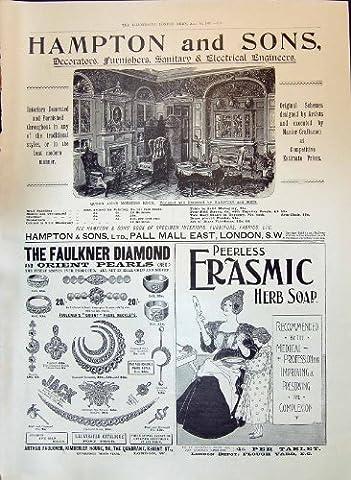 Antiker Druck Von Anzeigen-Hampton-Dekorateure Faulkner-Diamanten 1897 Perlt Erasmic-Seife