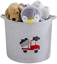 YLWHZOVE Large Cotton Rope Storage Basket, Tall Laundary Baskets for Bedroom, Living Room, Nursery Room with A