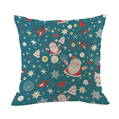 TEBAISE Festival Weihnachten 45x45cm Kissenbezug Merry Christmas bettwäsche deko Kissenbezug Weihnachtsmann Glocke Elf Rentier Rudolph Weihnachtsmann Sofa kissenhuelle Karneval Fasching ()
