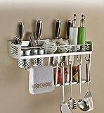 Zll Küche Racks, Wandbehänge, und Aufbewahrungsmöglichkeit Rack, Küche Anhänger, runde Reling Silber Doppel 2-tool-position Turret