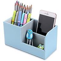 BTSKY Caja de Cuero de Almacenamiento para Escritorio Organizador de Cuero de Mesa para Lápices Plumas Mando a Distancia Móvil Tarjeta para Oficina Aula Hogar (Azul)