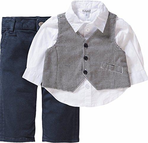 Kanz Jungen Anzug Weste + Hemd 1/1 Arm + Hose, Blau (Total Eclipse 3000), 62