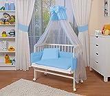 WALDIN Baby Beistellbett komplett mit Ausstattung, höhen-verstellbar, Buche Massiv-Holz weiß lackiert, 16 Modelle wählbar,blau/weiß