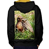 Hibou Couple La nature Animal Oiseau Famille Homme L Sweat à capuche contrasté le dos | Wellcoda