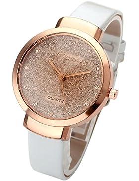 JSDDE Uhren,Elegante Damen Armbanduhr Braunglas Glitzer Dial XS Slim PU Leder-Band Ladies Dress Analog Quarzuhr...