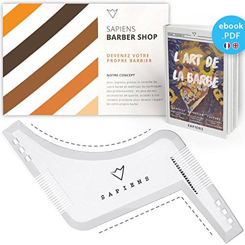 Peigne Pochoir Barbe Transparent par Sapiens : Accessoire de Rasage et d'Entretien de Contour de Barbe Homme + Guide d'Utilisation Imprimé + Ebook Offert