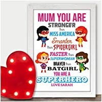 Superhero Birthday Gifts for Mum Mummy Nan Nana Nanny Nanna Presents Christmas - PERSONALISED with ANY NAME and ANY RECIPIENT - Black or White Framed A5, A4, A3 Prints or 18mm Wooden Blocks