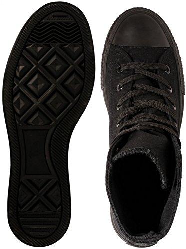 Elara Unisex Kult Sneaker   Bequeme Sportschuhe für Damen und Herren   High top Textil Schuhe 36-47 All Black