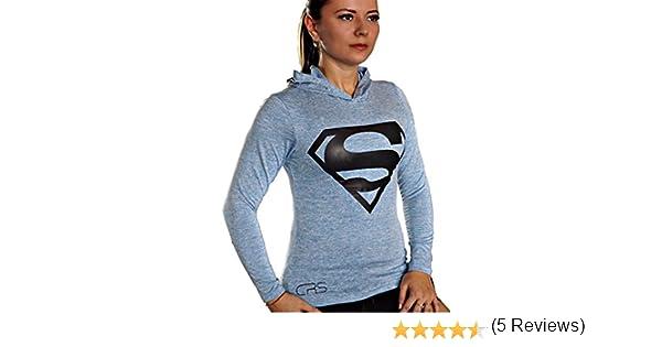 Sportshirt Funzione Shirt Maniche Lunghe Superman Sport Maglietta a Maniche Lunghe per Donna Slim Fit//Compression