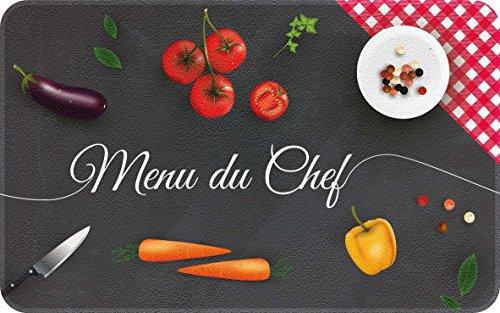 ID Mat Decor DE Cuisine Chef, Fibres Synthétiques, Noir Rouge Jaune Vert, 50x80x0,4 cm
