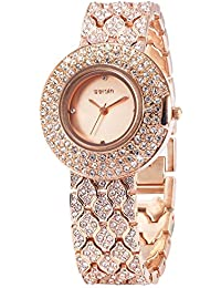 AMPM24 WEIQIN Reloj de mujer de Cuarzo, Correa de Acero Inoxidable, color oro rosa, esfera de oro rosaWQI007
