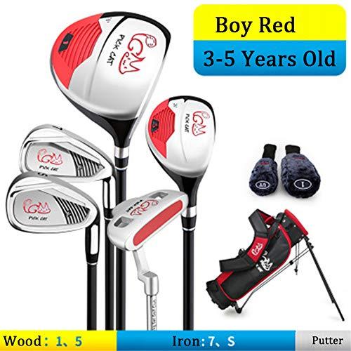 WHARMSS Golf Club Set für Girls & Boys 5 Golfschläger mit Einer Gepäcktasche, 2 kostenlose Headcovers für 3-12 Jahre alte Kinder,Boy,3-5