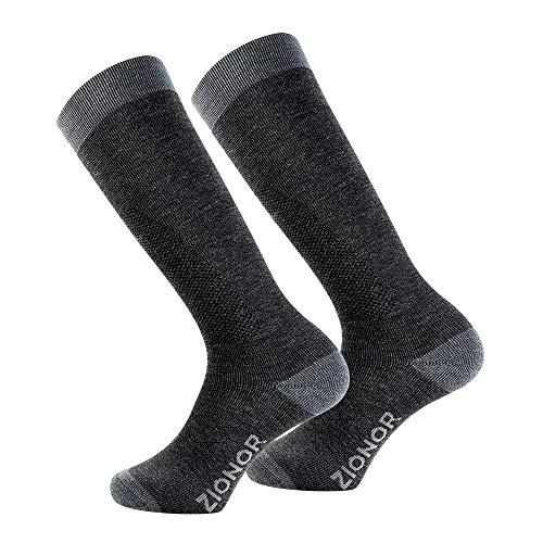 Wolle Knie Hohe Socken (ZIONOR Skisocken Kniestrümpfe Sportsocken Schnee Socken Hohe Knie Merino Wolle Warm Plüsch Gepolsterte Elastisch Schnell trocken für Unisex Herren Damen Skifahren Snowboarden)