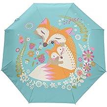 bennigiry paraguas Fox Love UV anti ligero sombrilla elegante reverso 3plegable gota resistente paraguas Regalos especiales para negocios y personal, mujer, Multi#001, talla única