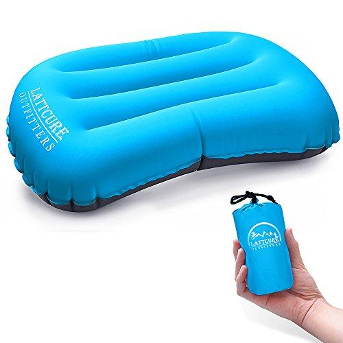 LATTCURE Camping Kissen Ultraleichtes Reisekissen Aufblasbares Kopfkissen Nackenkissen Sitzkissen für Camping, Reise,Strand, Urlaubs, Büro (Blau)