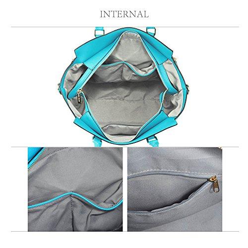 Meine Damen Umhängetaschen Frauen Große Designer Handtaschentoteschulterkunstleder Modische Taschen (A - Schwarz) A - Aquamarin