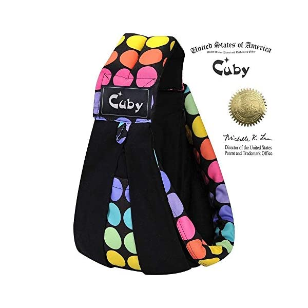 Cuby Baby Slings Carrier for Newborns and Breastfeeding (Black Dot) CUBY Durable Weight Baby Sling:Designed to carry babies who are 0 to 36 months old and weighing no more than 44 pounds. Five Different Carrying Positions: Including two perfect and convenient for breastfeeding. Cuby's baby carrier allows you to carry your baby in the same position they used in the womb, gives your baby a familiar sense of security and makes it easy for you to enjoy eye contact to bond with your new bundle of joy. Premium Cotton: The baby carrier by Cuby is made of 100% high quality cotton. It is soft, skin-friendly and breathable. 1