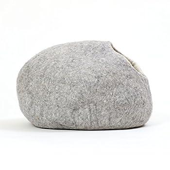 Grotte de chat maison pour chat panier lit pour chat XL - même pour grands chats ou petits chiens - robuste à l'extérieur & douillet à l'intérieur - fait main en laine néo-zélandaise - gris