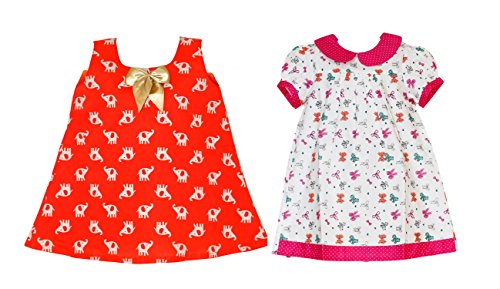 Mom's Girl Summer Collection Orange Elephant Frock and Pink Bows Frock Combo (2-3 Years)