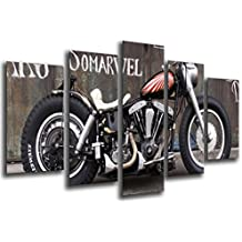 Cuadro Moderno Fotografico Moto Harley Davidson, Moto Antigua Vintage, 165 x 62 cm, ref. 26552