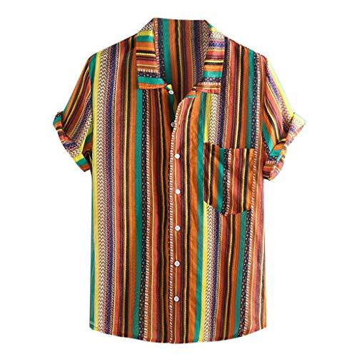 Dasongff Herren Hawaiihemd Regenbogenfarbenes Hemd colorful Freizeithemd Mehrfarbig Freizeit Hemd Capri Thai Shirts Boho Fischerhemden Chic Kurzarm Sommertop -