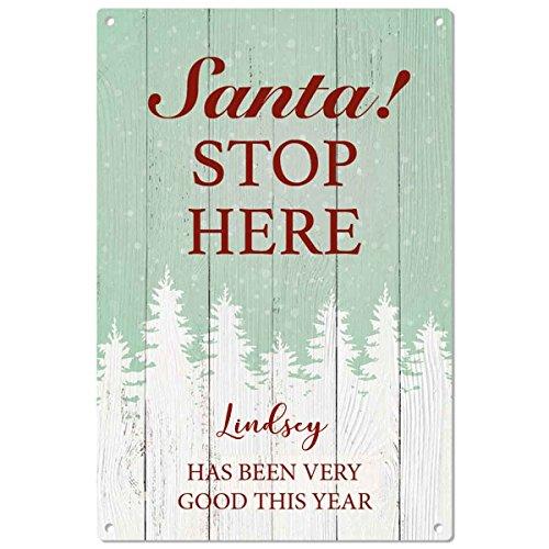LINDSEY è stato buono. Babbo Natale. Stop Here personalizzata targa