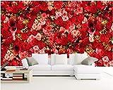 Xcmb 3D Tapete Hd Rote Rose Blumensträuße Von Blumen Dekor Malerei 3D Wandbilder Wallpaper Für Wände 3 D-400Cmx280Cm