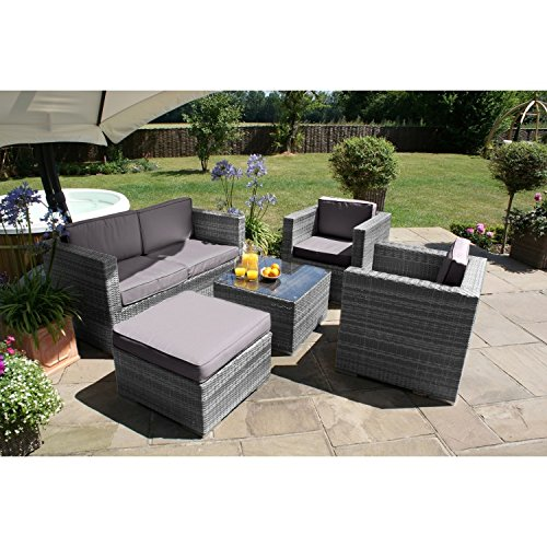 San Diego Dallas Baby Rattan Garden Furniture Grey 5 Piece Sofa Set Garden