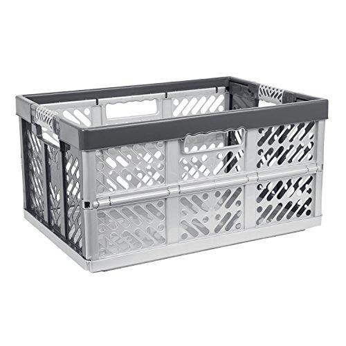45 Liter Profi Klappbox Kunststoff Box Klappkiste Einkaufskorb Faltbox silber (Kunststoff-klappbox)