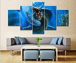 Loveygg Leinwanddrucke Wohnkultur Modulare Leinwand Bild 5 Stück Lagiacrus Monster Hunter Spiel Malerei Poster Wand Für Zuhause Leinwand Malerei,100x55cm