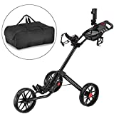 CaddyTek Super Deluxe Quad Fold Golf Cart-black with storage bag
