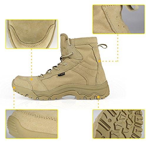 FREE SOLDIER, anfibi da uomo, scarponcini stringati in stile militare leggeri e traspiranti per escursioni e sport Sand