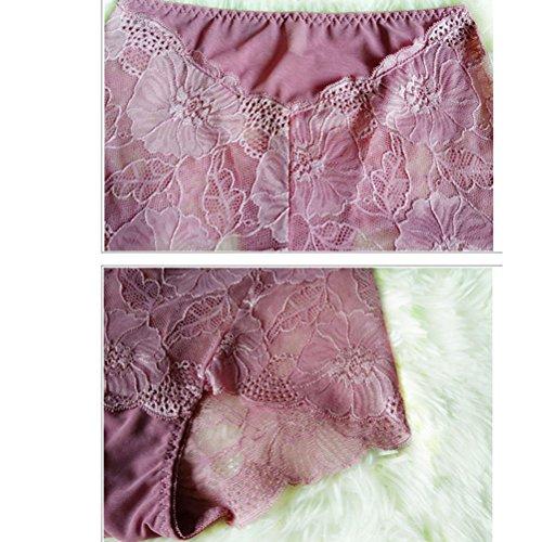 Zhhlaixing Fashion Atmungsaktive Dessous Close Transparent High Waist Womens Underwear Lace Hollow Underpants Red