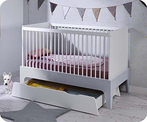 Paket Mitwachsendes Babybett Oléron weiß und hellgrau mit Schublade und Matratze - 2