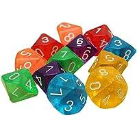 10 Pieces Des D10 De a 10 faces pour RPG Donjons & Dragons Jeux de table Board Transparent Multicolore