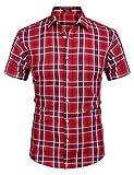 Coofandy - Camicia da Uomo a Maniche Corte, Stile Casual, in Cotone, con Bottoni Motivo 3 L