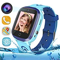 GPS Kids Smart Watch Phone - WiFi + GPS + LBS Tracker Smartwatch with Step Counter Gao Fence Calling SOS Voice Chat Camera Game for Boys Girls Age 3-12 (Blue)