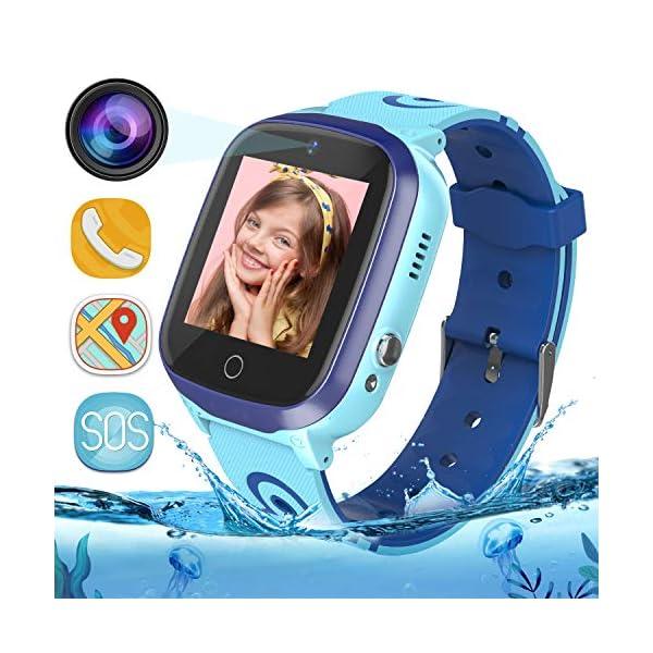 MeritSoar Tech GPS Smartwatch para Niños - WiFi + GPS + LBS Tracker Phone Smart Watch con Contador de Pasos Geo Fence Cámara Calling SOS Chat de Voz Juego para 3-12 Niños Compatible iOS/Android 1