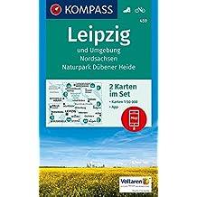 Leipzig und Umgebung, Nordsachsen, Naturpark Dübener Heide: 2 Wanderkarten 1:50000 im Set inklusive Karte zur offline Verwendung in der KOMPASS-App. Fahrradfahren. (KOMPASS-Wanderkarten, Band 459)