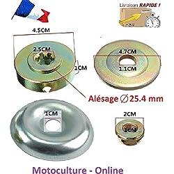 Motoculture-Online Ensemble écrou + flasque + rondelles de centrage pour Lame/Disque (alésage 25.4 mm) de débroussailleuse ou Multifonctions 5 en 1