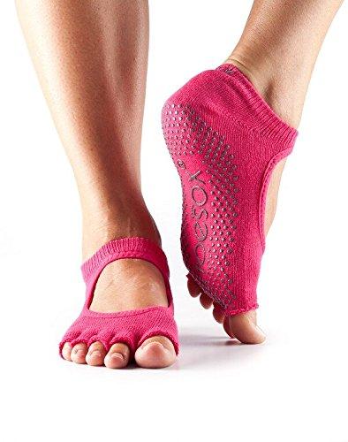 1-Paire-Bella-moiti-Toe-ToeSox-femmes-en-coton-bio-Ouvrir-avant-Yoga-Chaussettes-en-fuchsia