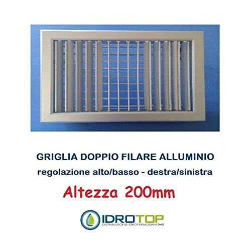 Lüftungsgitter Gitter Höhe 200mm Alu oder weiß mit Klappen schwenkbar einzeln, weiß