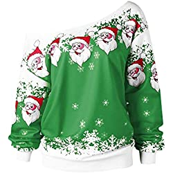 VEMOW Heißer Elegante Damen Frauen Frohe Weihnachten Weihnachtsmann Print Skew Kragen Casual Daily Party Freizeit Sweatshirt Bluse(Grün, EU-34/CN-M)